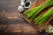 Fresh Green Asparagus On Wooden Background